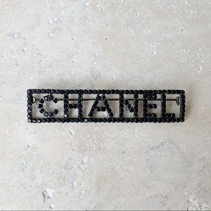 CHANEL Black Rhinestone Brooch